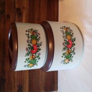(4) Vintage Sterilite Plastic Gourmet Garden Mushrooms Nesting Canister Set
